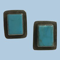 One Inch Tall Sterling Silver Bezel Set Turquoise Rectangular Pierced Earrings