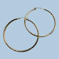 Large Etched 10 Karat Gold Hoop Earrings for Pierced Ears 10K