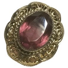 Whiting and Davis Bezel Set Amethyst Adjustable Ring with Filigree Design