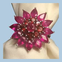 Gorgeous 925 Thailand Sterling Rubies or Spinel Flower Petals Ring Size 6.5