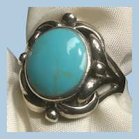 Size 9 Turquoise Cabochon Ring Sterling Silver Open Work Design