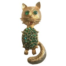 Brushed Gold Tone and Rhinestones Jelly Belly Cat Pin Figural Brooch