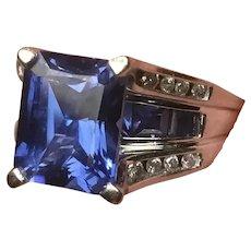 Gorgeous 10K White Gold Sapphire and Diamond Ring Size 9 Hallmark LGL