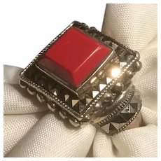 Awesome Sterling Silver Red Coral and Marcasites Ring Size 6