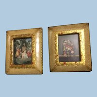 Framed Pair Florentine Italy Dollhouse Pictures Gold Gesso 2 7/8 x 3 1/4 Flowers, Romance
