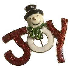Haskell Large Glitter Enameled JOY Snowman Christmas Pin Brooch