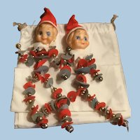 Pair Vintage Pixie Knee Hugger Christmas Ornaments Felt, Jingle Bells, Pipe Cleaners, Japan