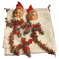 Two Vintage Pixie Knee Hugger Christmas Ornaments Felt, Jingle Bells, Pipe Cleaners, Japan