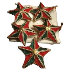 5 Ornate Vintage Victorian Style Star Christmas Ornaments Velvet with Gold Beads, Trim