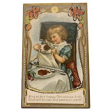 Adorable Early Embossed and Glitter Christmas Postcard Little Girl and Her Dog