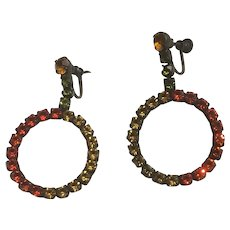 Awesome Tri Color Rhinestones Circle Drop and Dangle Earrings Screw Back
