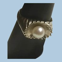 Gorgeous 14K White Gold Pearl Solitaire Ring in Ribbed Shiny and Satin Gold