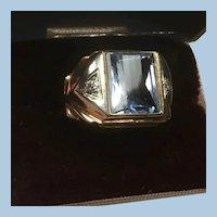 10K Yellow Gold Ring, Faceted Convex Barrel Cut Aqua Blue and Diamonds Size 9 1/4