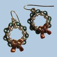 Enamel, Glitter, Faux Pearl Christmas Wreath Hook Earrings for Pierced Ears