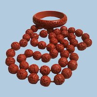 Long Carved Red Cinnabar Necklaces and Bangle Bracelet