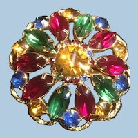 Awesome Multicolor Domed Rhinestone Brooch Marquise and Round Cut Florentine Edge