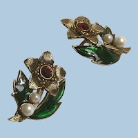 Signed Mixed Metals, Enamel, Rhinestone and Faux Pearl Christmas Clip Earrings