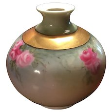 T & V France Limoges Signed Porcelain Vase with Hand Painted Roses Gold Gilt