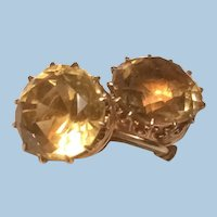 Gorgeous 10K Yellow Gold Citrine Solitaire Screw Back Earrings KY Estate Crown Prongs