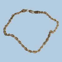 10K Yellow Gold Rope Chain Anklet, Arm or Ankle Bracelet IL Estate