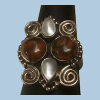 Sterling Silver Modernist Ring, Brown Jasper, Moonstones or Mother of Pearl, Curlicues