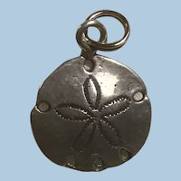 Ocean Themed Sterling Silver Sand Dollar Charm Marked Twice