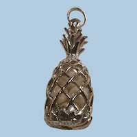 Sterling Silver Pineapple Pendant, Charm Caged Pearls