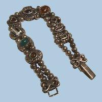 Sterling Silver Victorian Revival Slide Bracelet Gemstones, Enamel, Beads, Heart, Flower