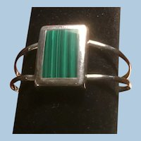 Sterling Silver Divided Cuff Bracelet Large Rectangular Malachite Inlay, Mexico