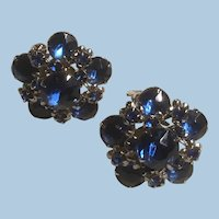 Vintage Dimensional 5 Point Star or Flower Sapphire Blue and Silver Clip On Earrings