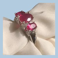 Sterling Silver Triple Oval Garnet or Ruby Red Stones Ring  925 Thailand Size 10