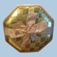 Vintage Pink and Gold Brach's Fine Chocolates Octagon Candy Box Satin Ribbon, Tulips
