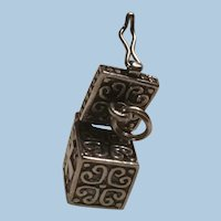 Sterling Silver Mechanical Opening Hinged Prayer Box Charm or Pendant, Ichthus, Cross, Hearts