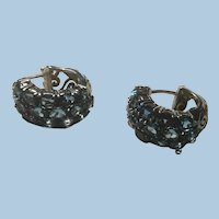 Awesome Sterling and Sapphire Blue Oval Cut Filigree Rhinestone Hoop Earrings Thailand 925