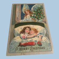 Early Embossed Christmas Postcard Sisters Sleeping, Angel, Christmas Tree, Doll, Toy Leather Ball