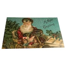 Beautiful Unused Antique Christmas Postcard Santa in Coach, Goggles, Dolls, Joker, Red Cross