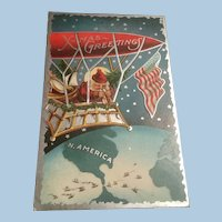 Awesome Silver Gilt 1911 Santa in Zeppelin Embossed Postcard, American Flag, North American