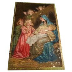 Gorgeous Gold Gilt Gel Early Christmas Postcard Children and Angels Visit Baby Jesus, Mary