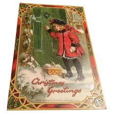 Early Raphael Tuck & Sons Early Embossed Christmas Postcard Little Girl Red Coat