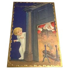 Early Embossed Postcard Gold Gilt The Night Before Christmas Series Santa and Child
