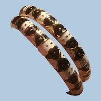 Original Boxed Pair Joan Rivers Enameled Hinged Clamper Bracelets