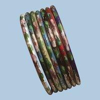 Set of 7 Colorful Floral Cloissone' Enamel Bangle Bracelets