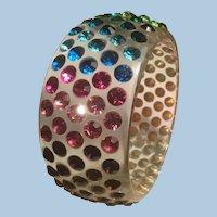 Wide Lucite Sparkling Colorful Rhinestones Bangle Bracelet