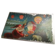 Early Embossed Christmas Postcard Santa Releases Hot Air Balloons Silver Gilt