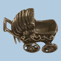 Sterling Silver Mechanical Baby Buggy, Stroller, Pram Charm Wheels and Bonnet Cover Move