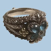 Ornate Barbara Bixby Sterling Silver 18K Gold Floral Blue and White Topaz Ring