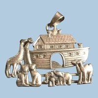 15 Grams High Relief Detailed Sterling Silver Noah's Ark Pendant Animals Two By Two