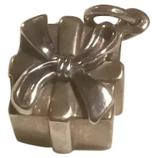 Tiffany & Co. Sterling Silver Gift Wrapped Present Charm With Bow