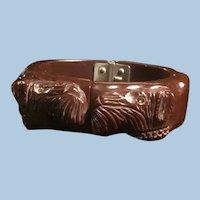 Heavily Carved Bakelite Hinged Dog Bracelet Raised Detail Schnauzer, Scotty,  Rhinestone Eyes