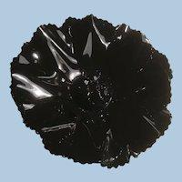 Shiny Black Enameled Double Flower Brooch Ruffled Edges, Black Rhinestone Center